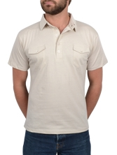 Polo manches courtes Double Pockets beige