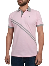 Polo manches courtes RayClub rose et gris