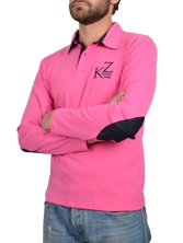 Polo manches longues Elbow Patch fuchsia et marine