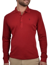 Polo manches longues Fancy Collar rouge