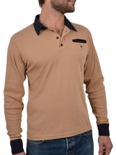 Polo manches longues Piping Pocket beige et marine