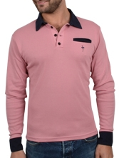 Polo manches longues Piping Pocket rose et marine