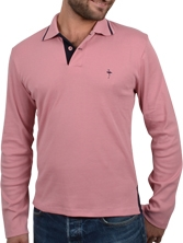 Polo manches longues Venice ML rose et marine