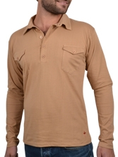 Polo manches longues Western beige