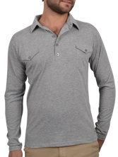 Polo manches longues Western gris