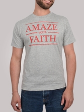 T-shirt homme Amazing Tee gris clair et rouge - Tee shirt manches courtes