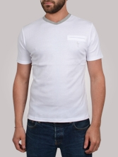 T-shirt homme V Neck Tee blanc et gris - Tee shirt manches courtes