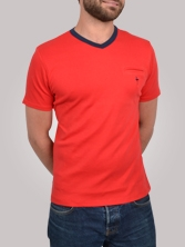 T-shirt homme V Neck Tee rouge et marine - Tee shirt manches courtes