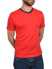 Tee shirt manches courtes V Neck Tee rouge et marine
