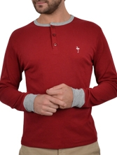 Tee shirt manches longues Basetun Tee rouge et gris