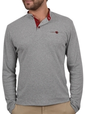 Tee shirt manches longues Piptun Tee gris et rouge