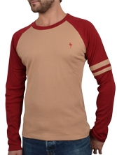 Tee shirt manches longues TeamBuild Tee beige et rouge