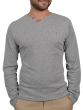 Tee shirt manches longues V-Neck Button Tee gris